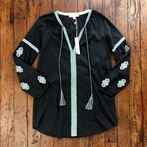 Love Stitch Boho Embroidered Tunic Shift Dress